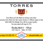 Cafe Madrid and Torres Wines dinner event